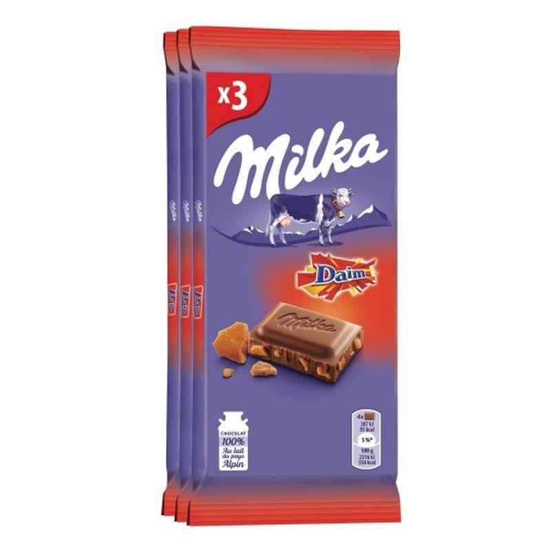 Chocolat au lait et au Daim, Milka LOT DE 3 (3 x 100 g)
