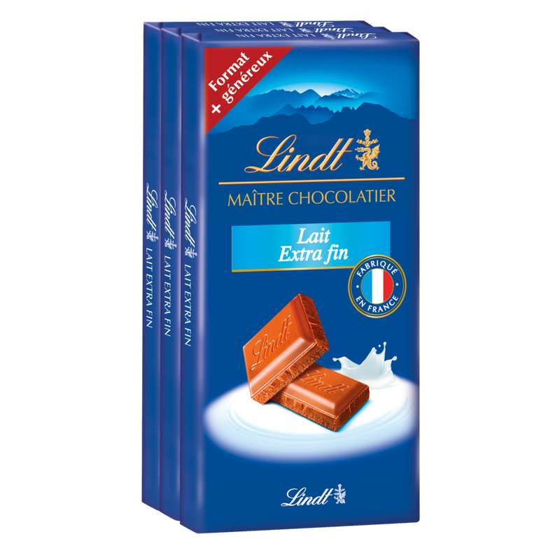 Chocolat au lait extra fin traditionnel, Lindt (3 x 110g)