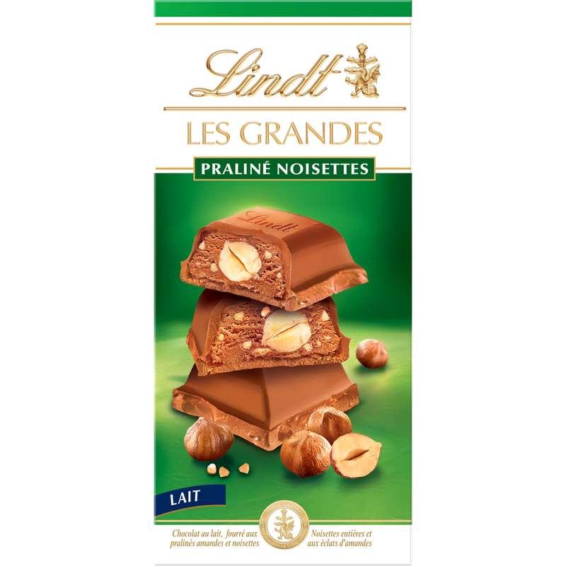 Chocolat Les Grandes au lait praliné noisette, Lindt (225 g)
