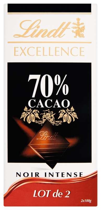 Chocolat Excellence Noir Intense 70% LOT DE 2, Lindt (2 x 100 g)