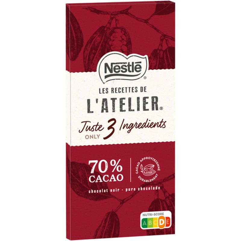 Chocolat l'Atelier noir Juste 3 ingrédients 70% cacao, Nestlé (100 g)