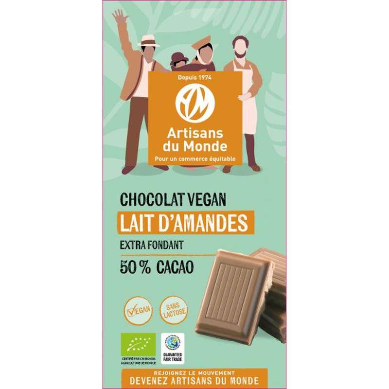 Chocolat Lait d'amandes 50% BIO Vegan, Artisans du monde (100 g)