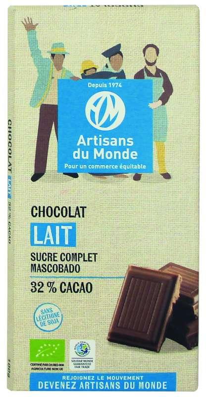 Chocolat Lait 32% BIO, Artisans du monde (100 g)
