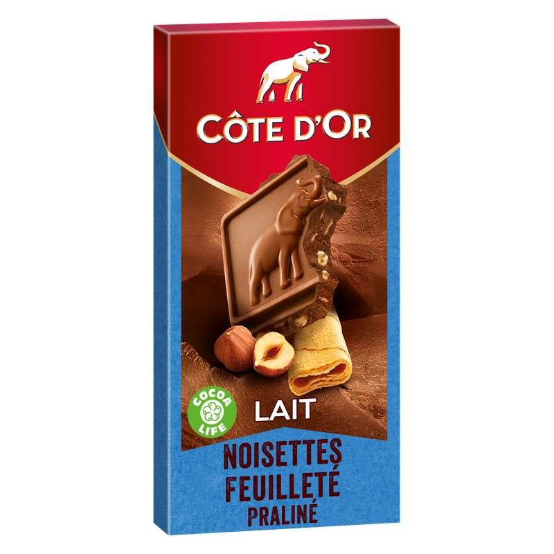 Chocolat lait noisette feuilleté praliné, Côte d'Or (180 g)