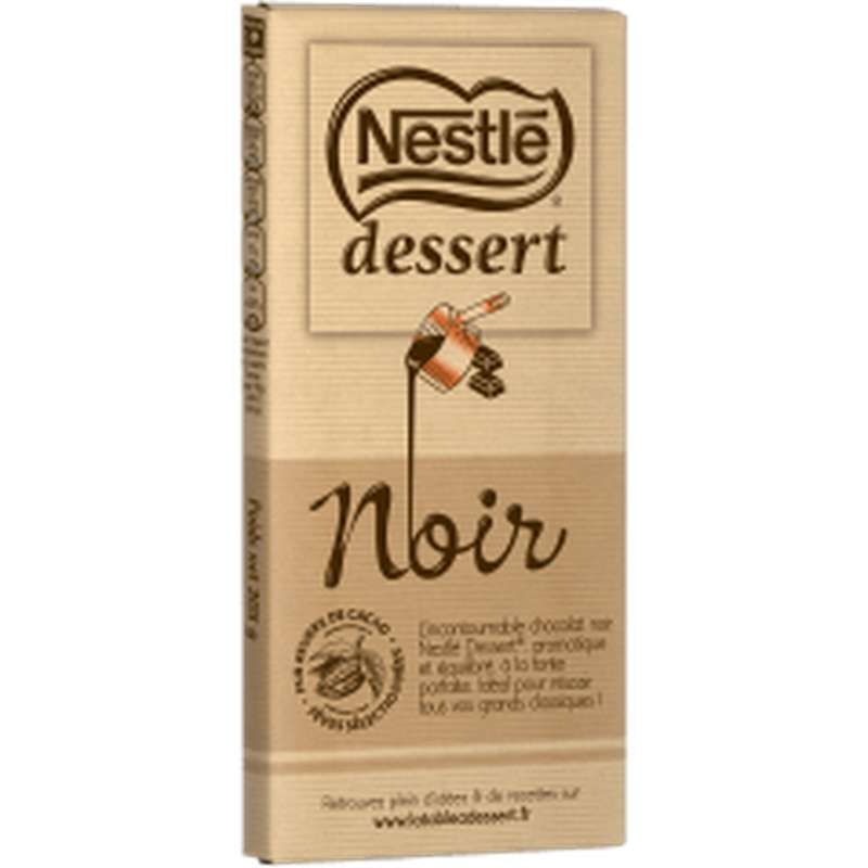 Chocolat noir 52% à pâtisser, Nestlé dessert (1 tablette x 205 g)