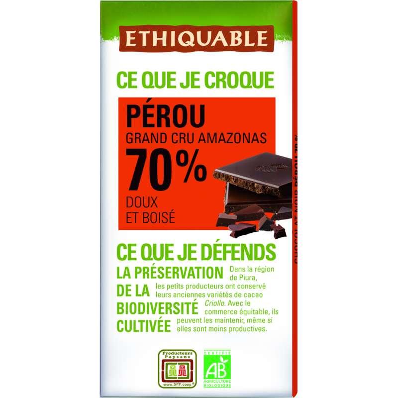 Chocolat noir 70% Pérou BIO, Ethiquable (100 g)