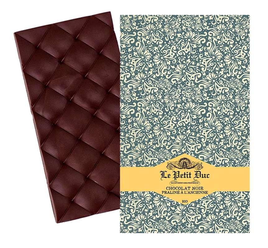 Chocolat noir 70% praliné à l'ancienne BIO, Le Petit Duc (70 g)