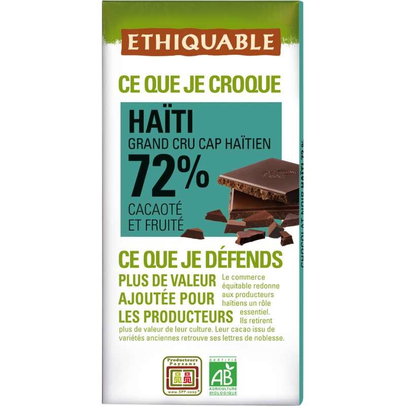 Chocolat noir 72% Haiti BIO, Ethiquable (100 g)
