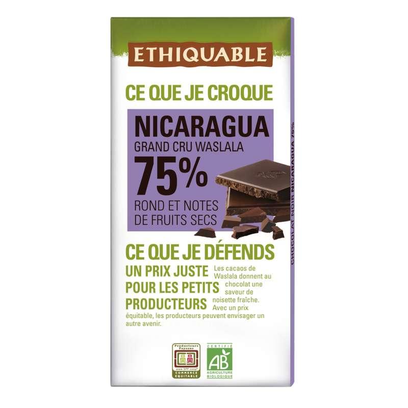 Chocolat noir 75% Nicaragua BIO, Ethiquable (100 g)