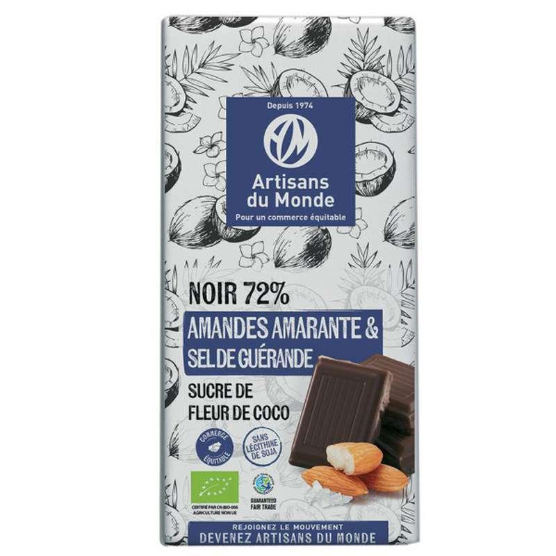 Chocolat Noir Amande Amarante et Sel 72% BIO Vegan, Artisans du monde (100 g)