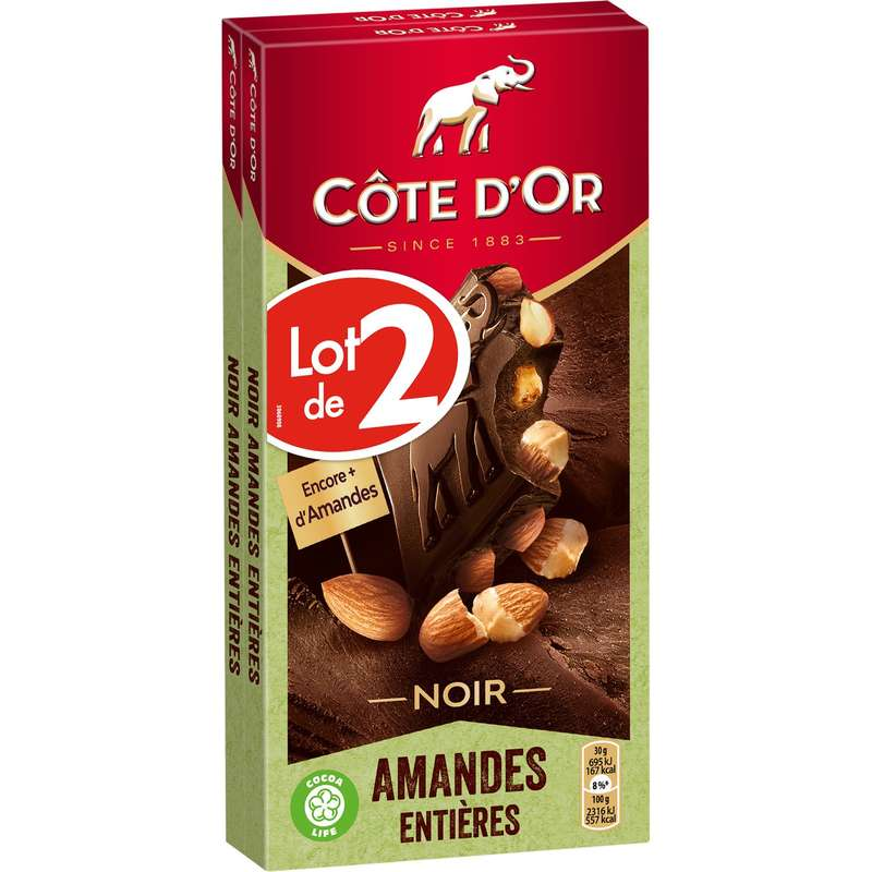 Chocolat noir aux amandes entières, Côte d'Or LOT DE 2 (2 x 180 g)
