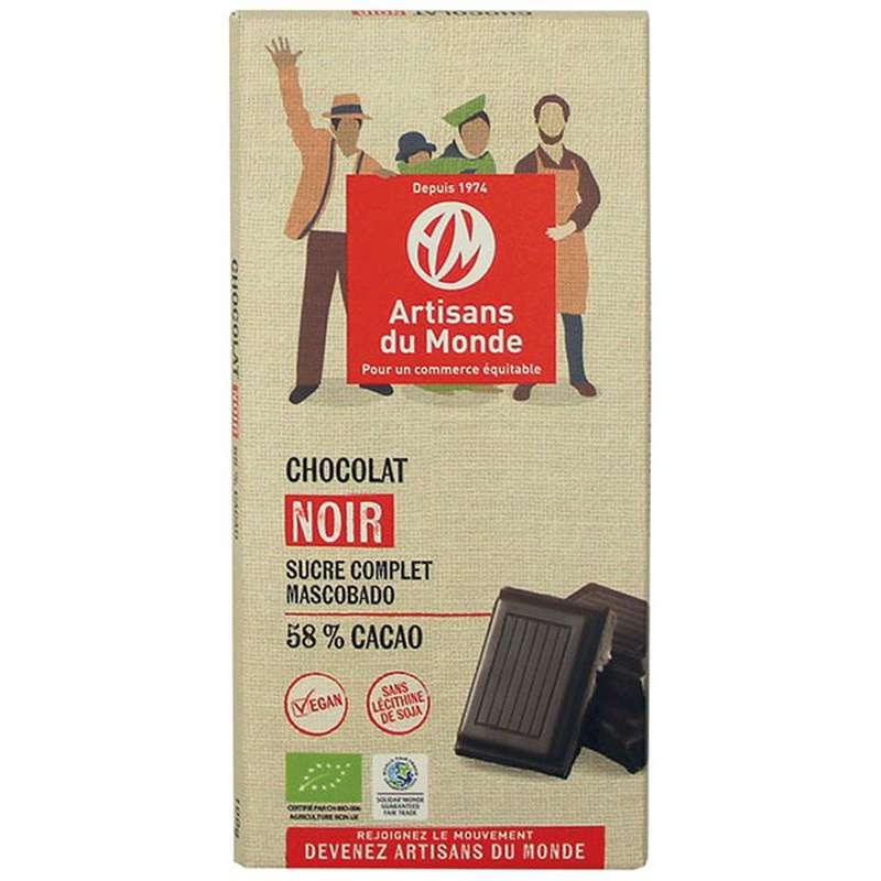 Chocolat Noir 58% BIO Vegan, Artisans du monde (100 g)