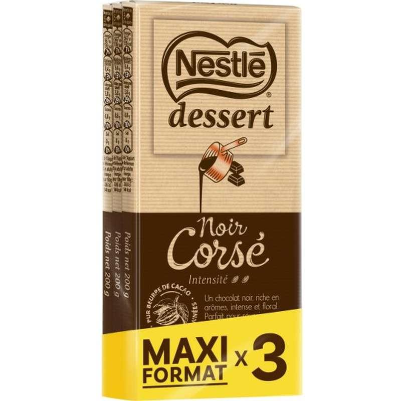 Chocolat noir corsé, Nestlé dessert MAXI FORMAT LOT DE 3 (3 x 200 g)
