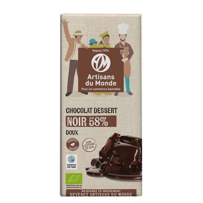 Chocolat Noir dessert 58% BIO Vegan, Artisans du monde (200 g)