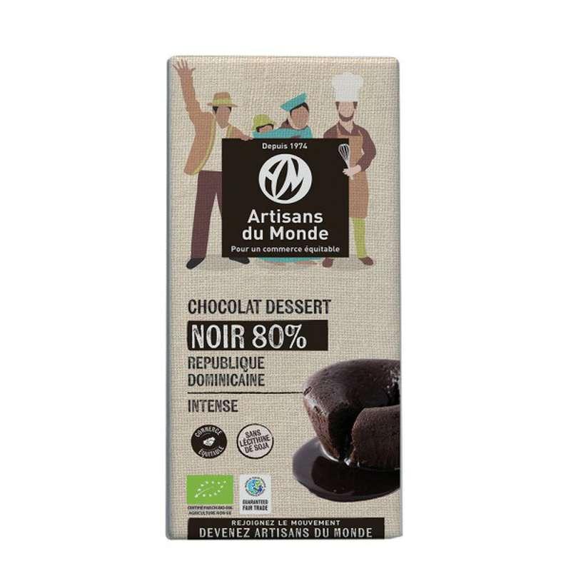 Chocolat Noir dessert 80% BIO Vegan, Artisans du monde (180 g)