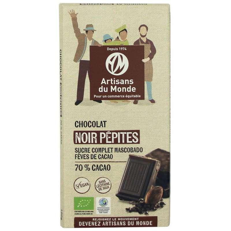 Chocolat Noir Pépites 73% BIO, Artisans du monde (100 g)