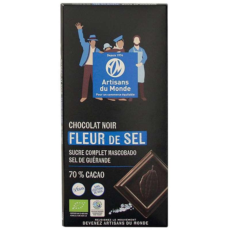 Chocolat Noir fleur de sel 70% BIO Vegan, Artisans du monde (100 g)
