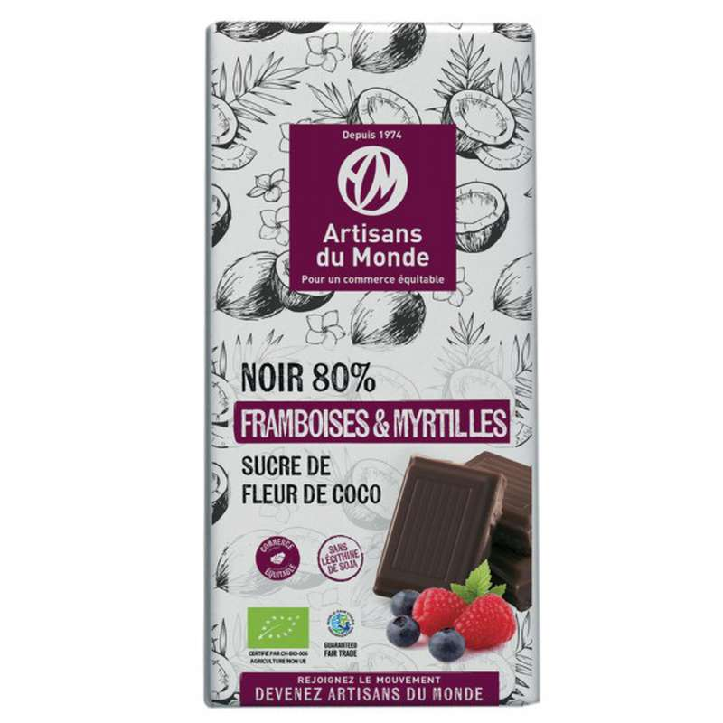 Chocolat Noir Framboise et Myrtille 80% BIO Vegan, Artisans du monde (100 g)