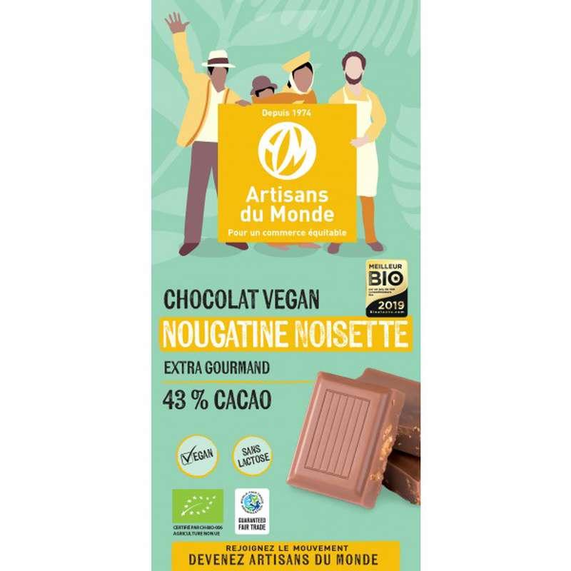 Chocolat Nougatine Noisettes 43% BIO Vegan, Artisans du monde (100 g)