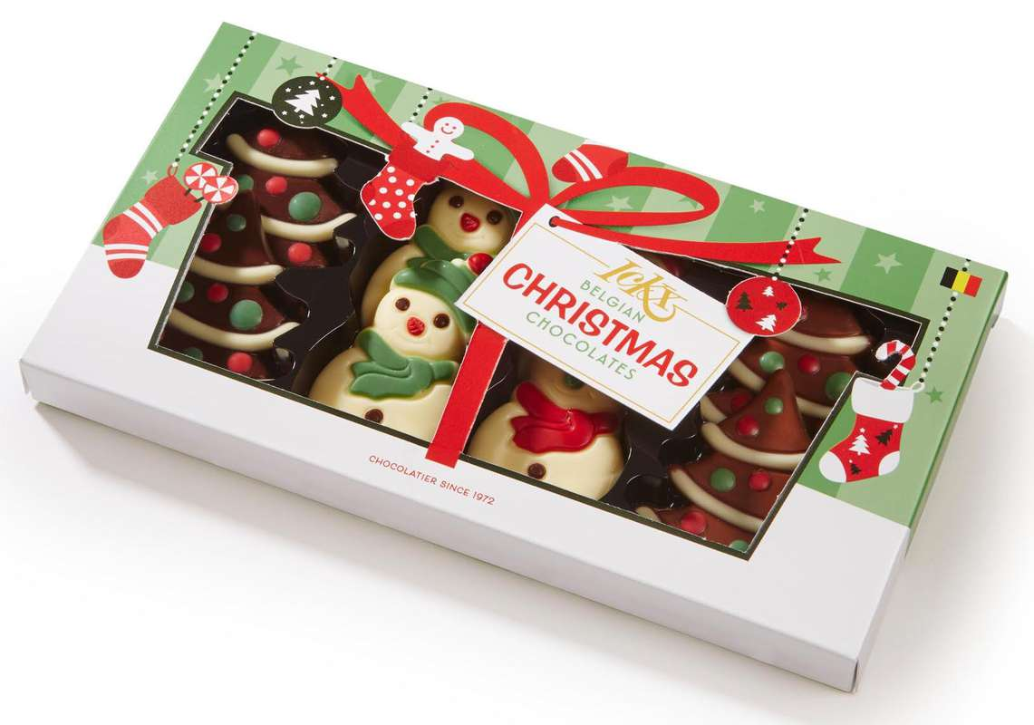 Chocolats belges Sapins et Bonhommes de neige, Ickx (x 8, 95 g)