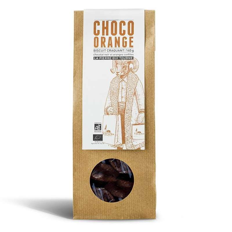 Biscuit craquant Choco Orange BIO, La pierre qui tourne (140 g)