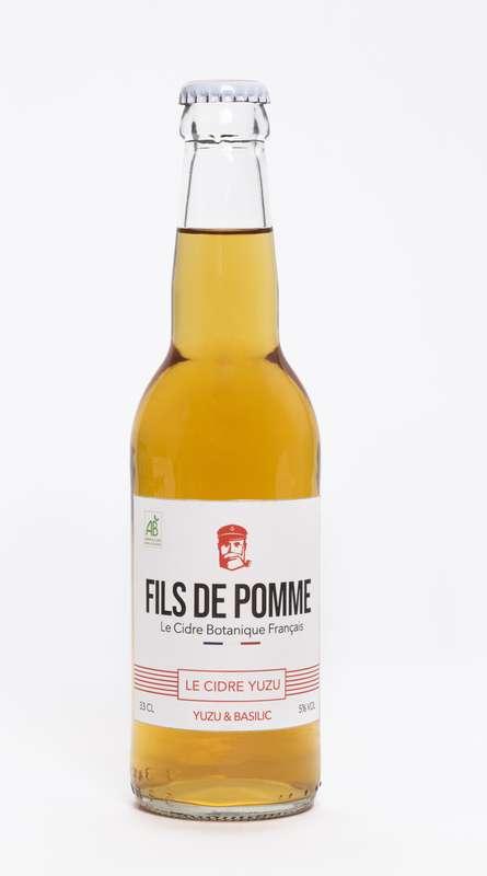 Cidre L'Audacieux infusé au Yuzu et Basilic BIO, Fils de Pomme (33 cl)
