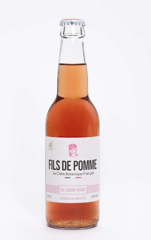 Cidre rosé Coquette infusé au Sureau et à l'hibiscus BIO, Fils de Pomme (33 cl)