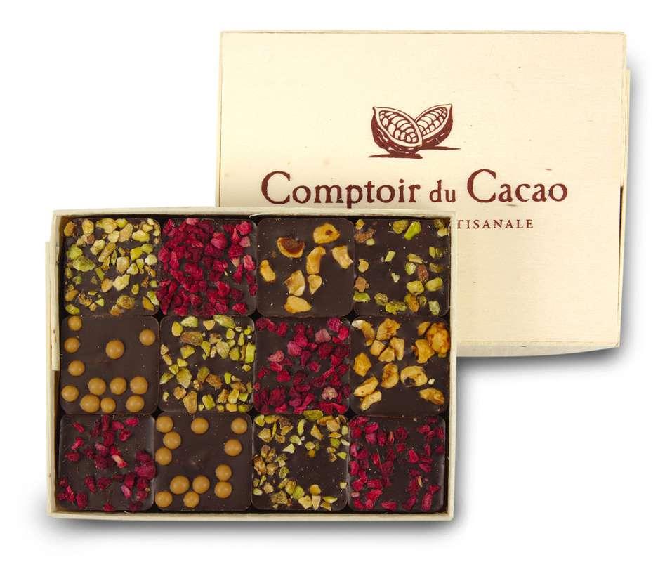 Coffret pralinés feuilletés noirs, Comptoir Cacao (120 g)
