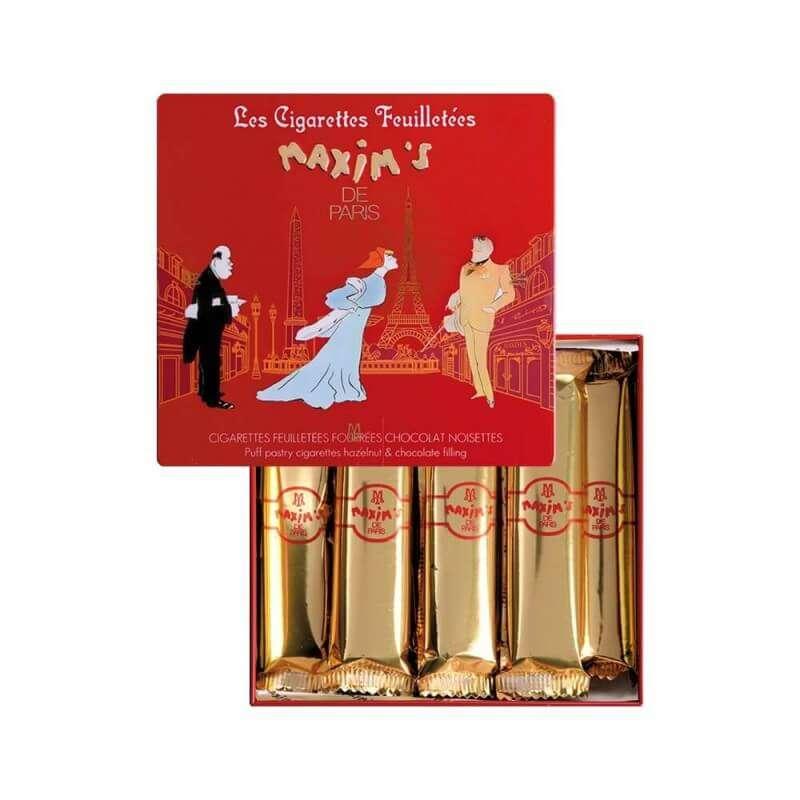 Coffret 16 cigarettes feuilletées chocolat noisette, Maxim's (90 g)