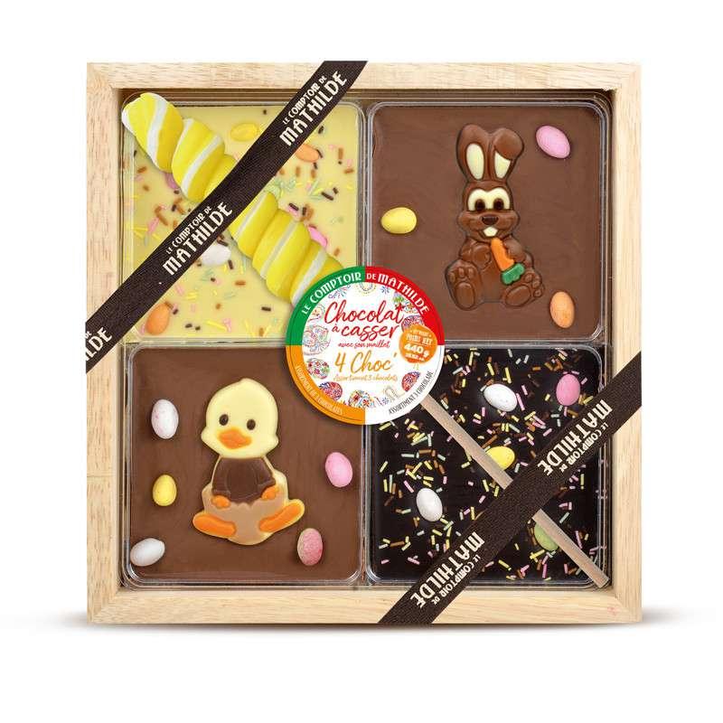 Coffret 4 Chocolats à casser avec sucette tortillon - édition Printemps, Le Comptoir de Mathilde (440 g)