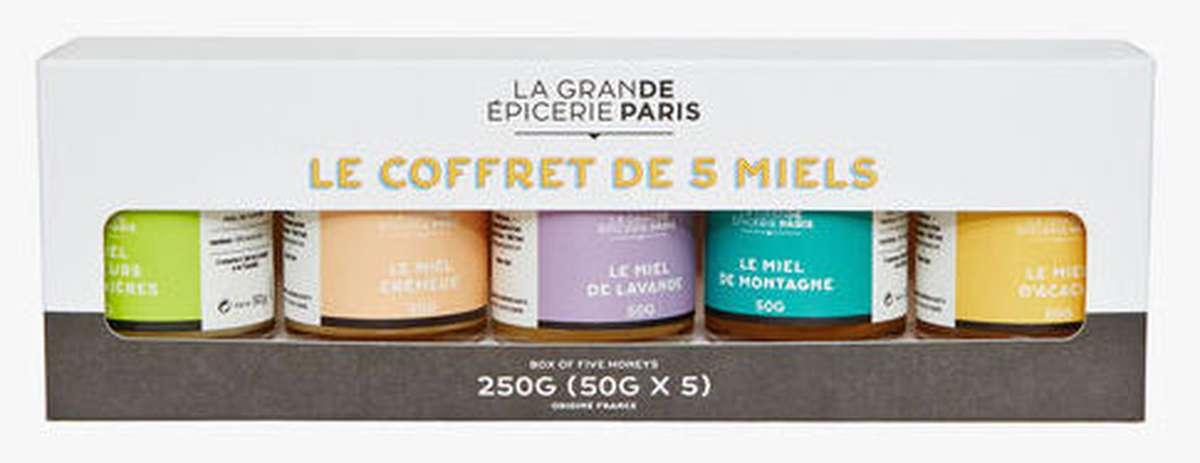 Coffret 5 miels, La Grande Epicerie de Paris (x 5, 250 g)