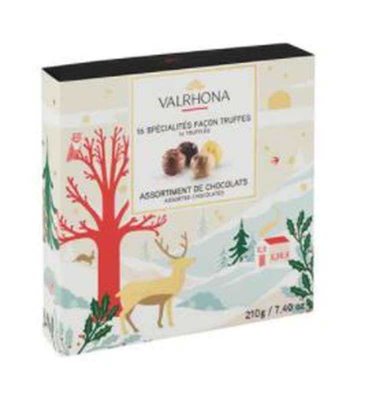 Coffret Collection Noël de 16 spécialités façon truffes, Valrhona (210 g)