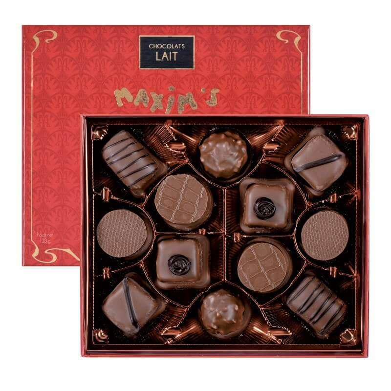 """Coffret """"Connaisseurs"""" de 12 chocolats au lait, Maxim's (120 g)"""