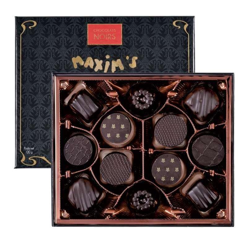 """Coffret """"Connaisseurs"""" de 12 chocolats noir, Maxim's (120 g)"""