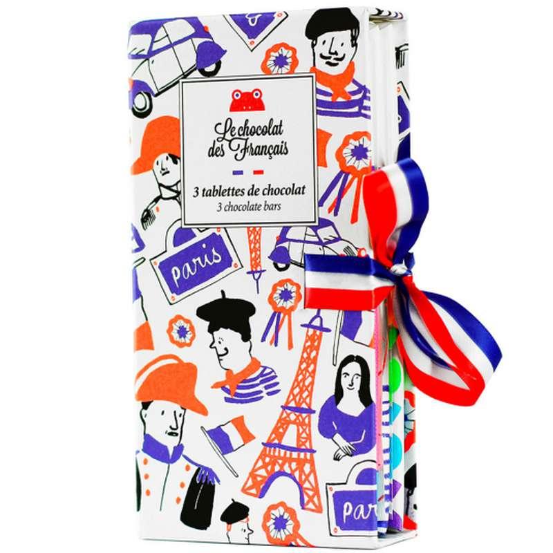 Coffret de 3 tablettes de chocolat BIO, Le Chocolat des Français (x3, 240 g)