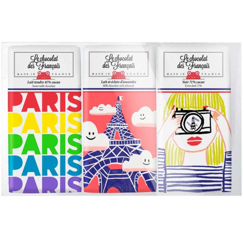 Coffret de 3 tablettines de chocolat  BIO, Le Chocolat des Français (x3, 90 g)