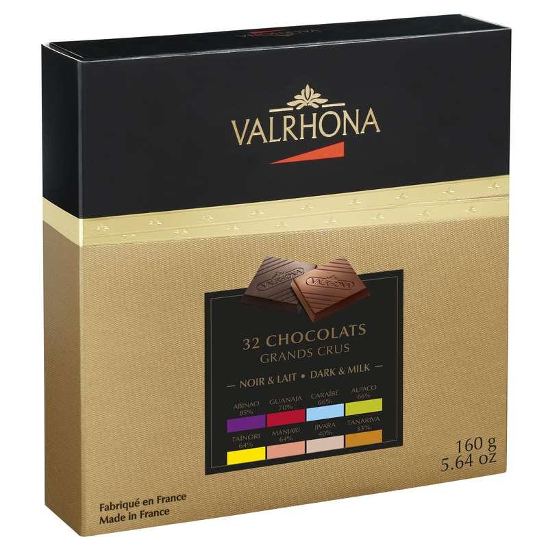 Coffret de 32 chocolats 8 Grands Crus Noir et Lait, Valrhona (160 g)
