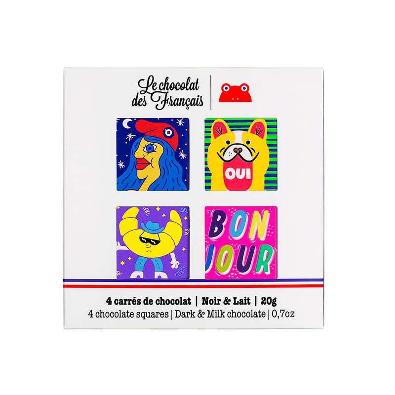 Coffret de 4 carrés de chocolat Frenchy BIO, Le Chocolat des Français (20 g)