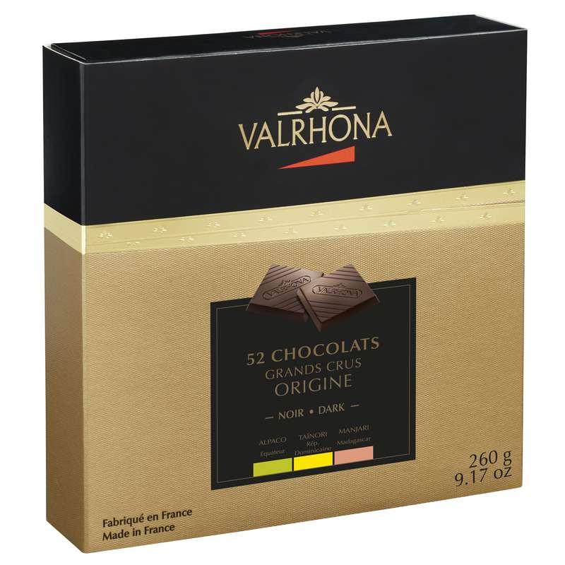 Coffret de 52 chocolats 3 Grands Crus Noir Origine, Valrhona (260 g)
