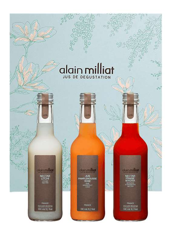 Coffret de printemps - litchi / pamplemousse rose / fraise sengana, Alain Milliat (3 x 33 cl)
