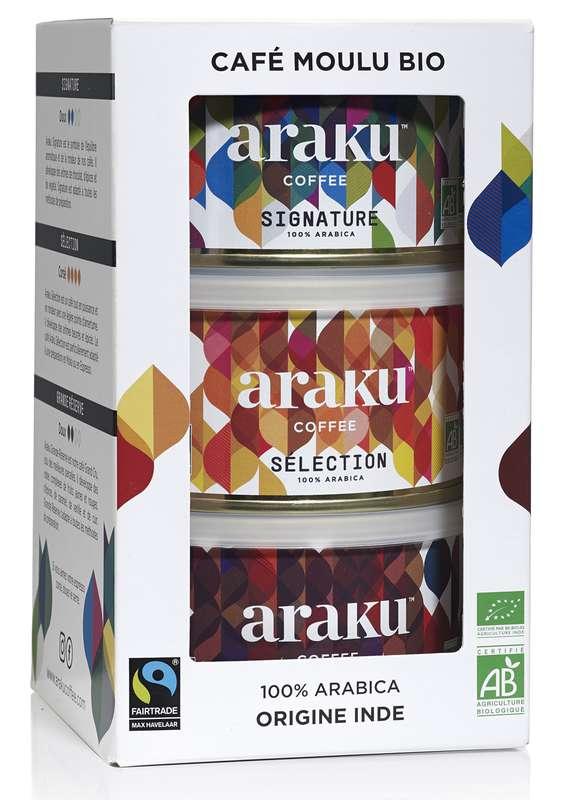 Coffret Découverte - 3 boîtes de café BIO, Araku (150 g)