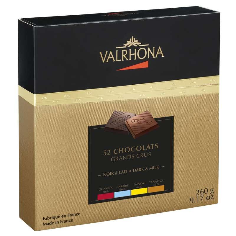 Coffret Découverte de 52 chocolats 4 Grands Crus Noir et Lait, Valrhona (260 g)