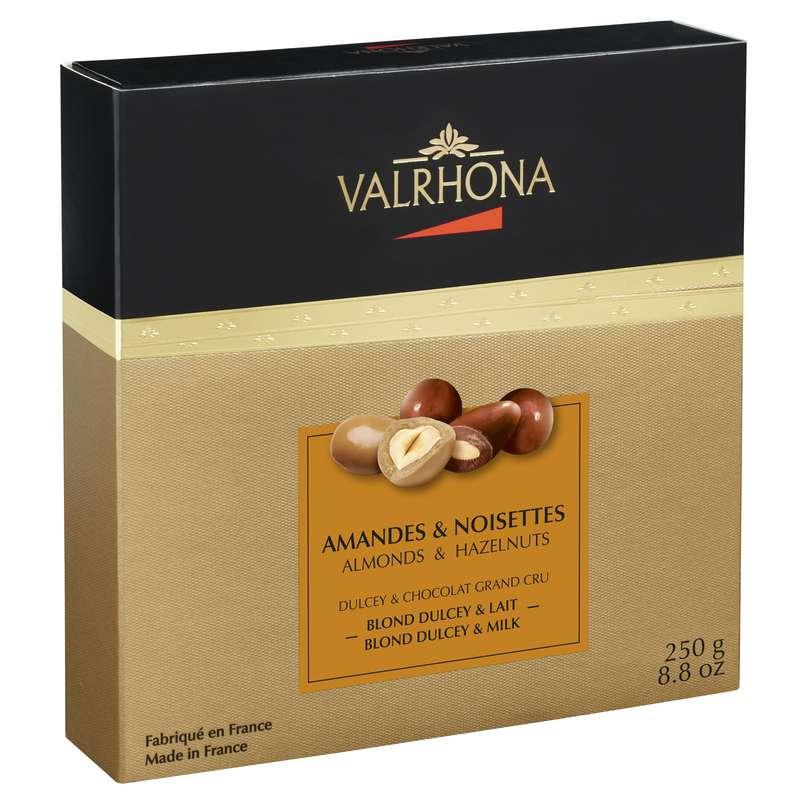 Coffret Equinoxe Amandes & Noisettes au chocolat Dulcey Lait, Valrhona (250 g)