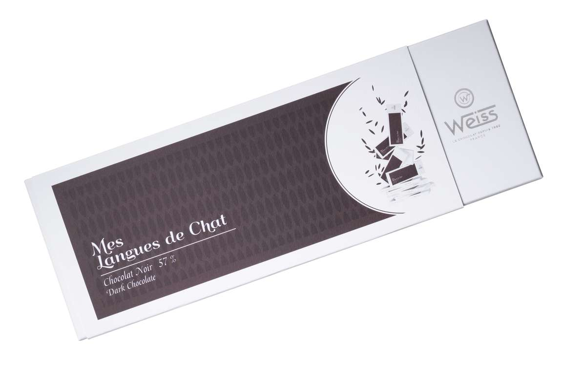 Coffret Mes langues de chat 57% de chocolat noir, Weiss (150 g)