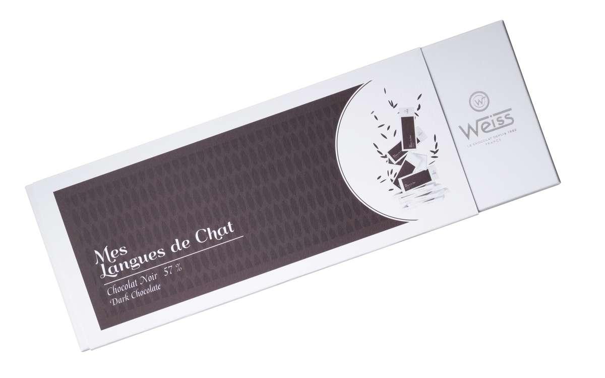 Coffret Mes langues de chat 57% de chocolat noir, Weiss (150 g)
