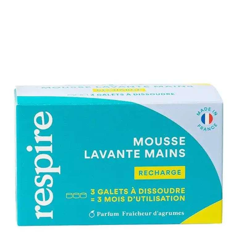 Coffret recharge Mousse lavante mains, Respire (3 x 10gr)