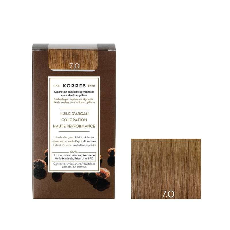 Coloration permanente huile d'argan blond 7.0, Korres (50 ml)