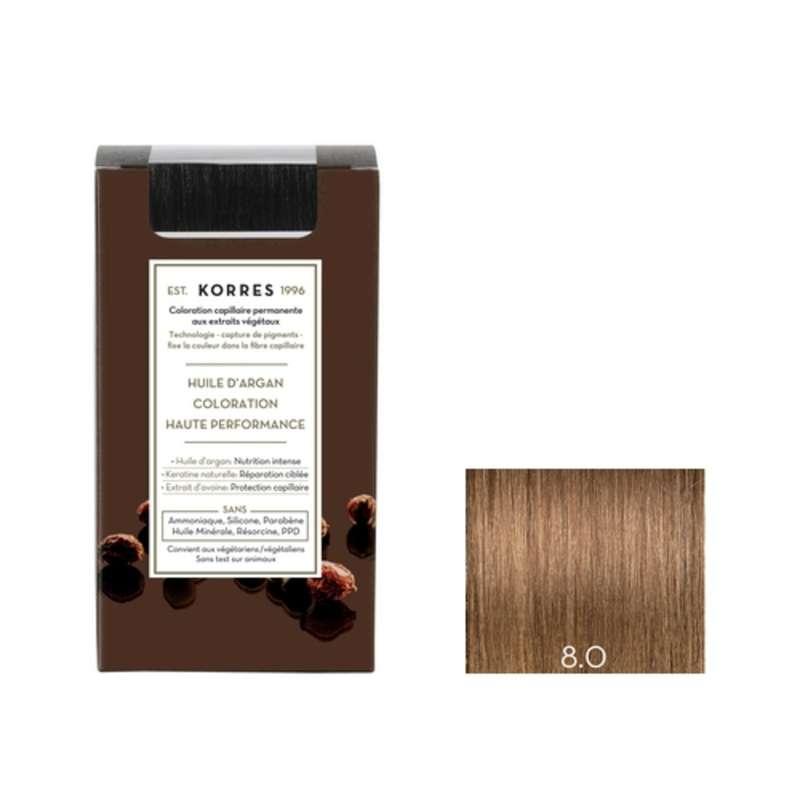 Coloration permanente huile d'argan blond clair 8.0, Korres (50 ml)