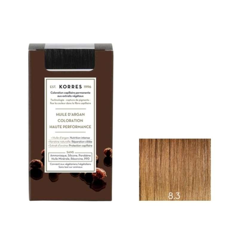 Coloration permanente huile d'argan blond clair doré 8.3, Korres (50 ml)