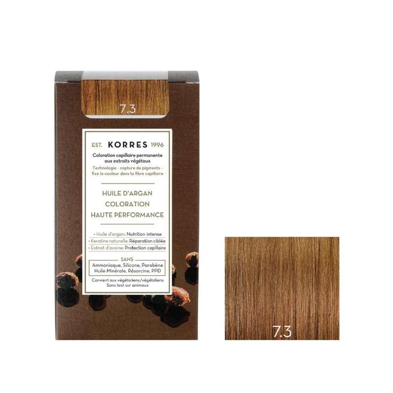 Coloration permanente huile d'argan blond doré 7.3, Korres (50 ml)